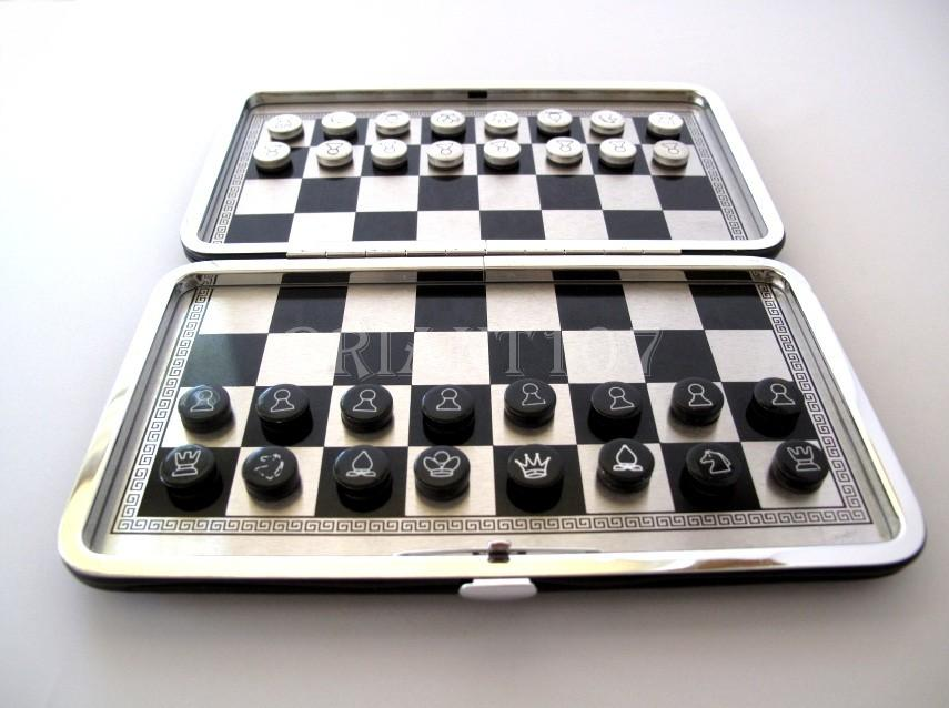 NIB Folding Aluminum Magnetic Chess Set 7.5 x 6.5 Brown Crocodile style